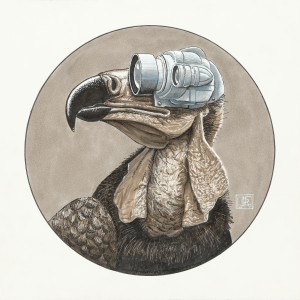 Jeff Jordan,  Profile Vulture, mixed media