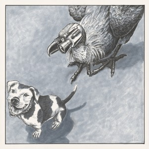 Pit Bull meets Media Vulture--Mixed Media/Paper